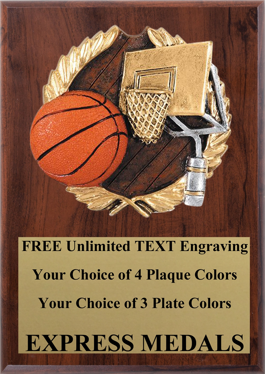 Full Color Basketball Plaque 4x6 & 5x7 PM663-VL