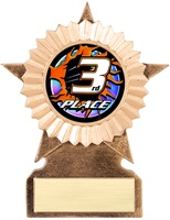 "6"" LARGE Star Blast Series Insert 3rd Place Trophy"