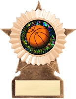 "6"" LARGE Star Holographic Diamond  Insert Basketball Trophy"
