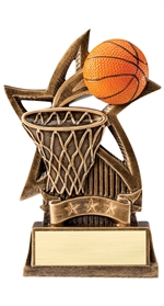 "6"" Sweeping Star Resin Basketball Trophy"
