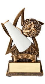 "6"" Sweeping Star Resin Cheerleading Trophy"