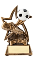 "6"" Sweeping Star Resin Soccer Trophy"