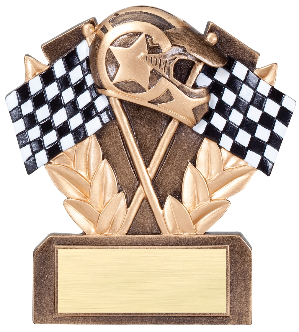 "5"" Checkered Flag Auto Racing Trophy Award"