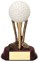 Golf Ball on Clubs Resin Trophy