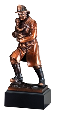 "12"" Fireman with Child Trophy Sculpture"