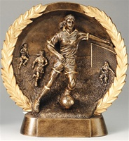 "7-1/2"" High Relief Female Soccer Plate Award"