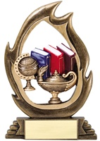 "7-1/4"" Flame Series Book & Lamp Trophy"