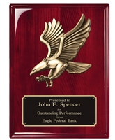 8 x 10 Rosewood Piano Finish Plaque with Eagle