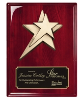9 x 12 Rosewood Piano Finish Plaque with Star
