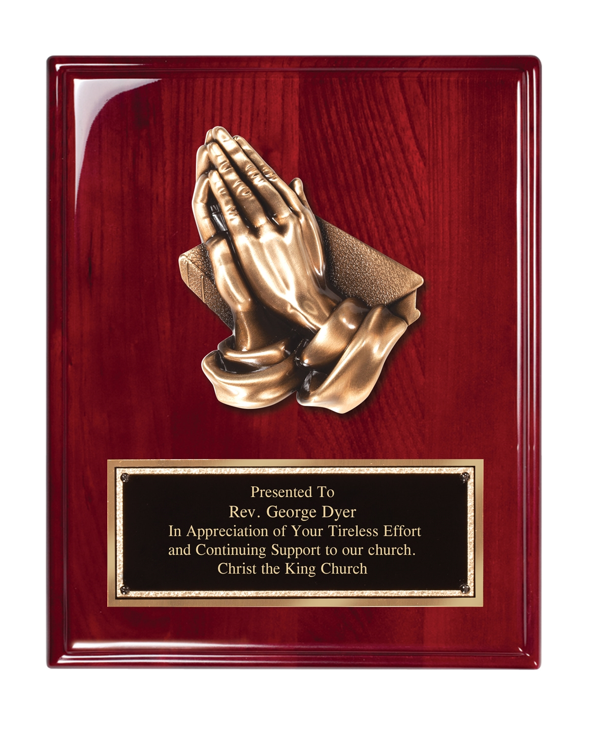 8 x 10 Rosewood Piano Finish Religious Plaque
