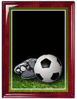 "7"" x 9"" Premium Piano Finish Soccer Plaque RW-MP305B"