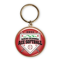 "1 1/8"" Full Color Custom Bright Gold Keytag (SL-KT10)"
