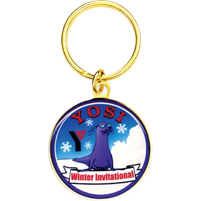 "2 1/4"" Full Color Custom Bright Gold Keytag (SLKT11F6)"