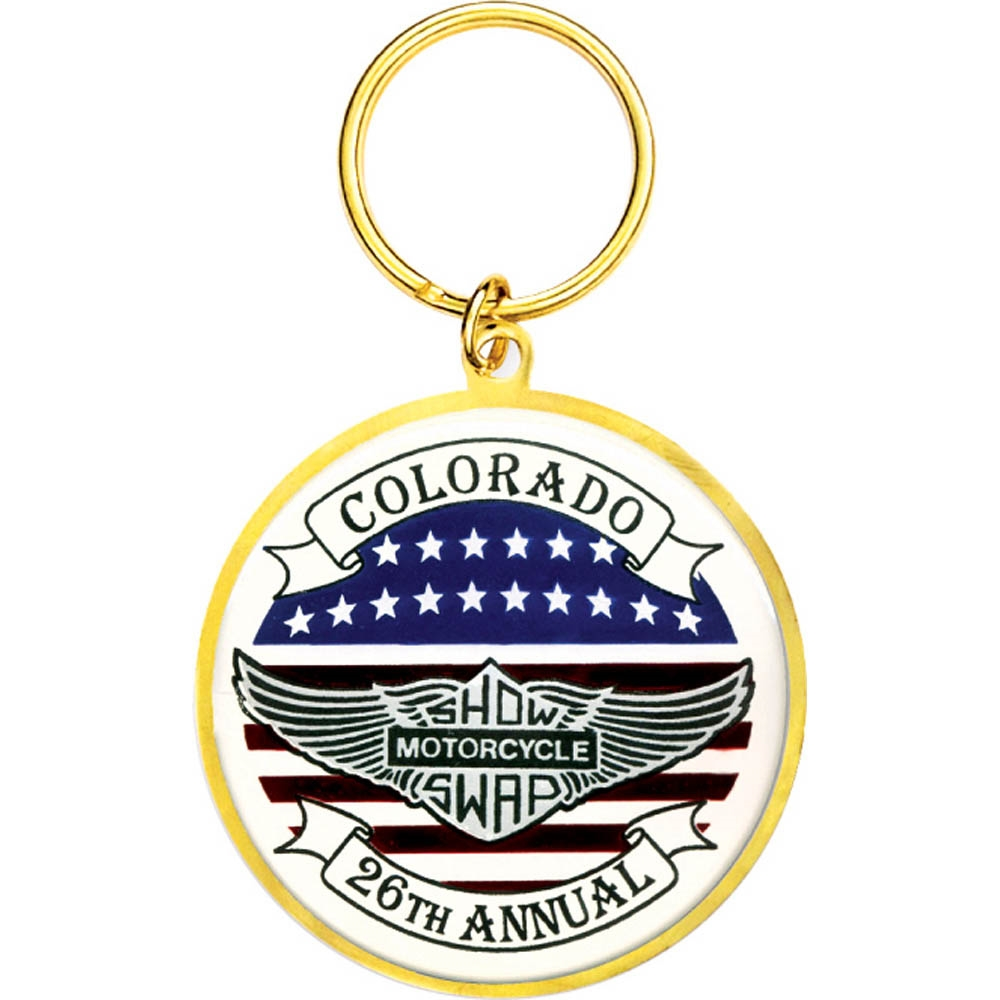 "2 1/4"" Full Color Custom Bright Gold Keytag (SLKT12F6)"