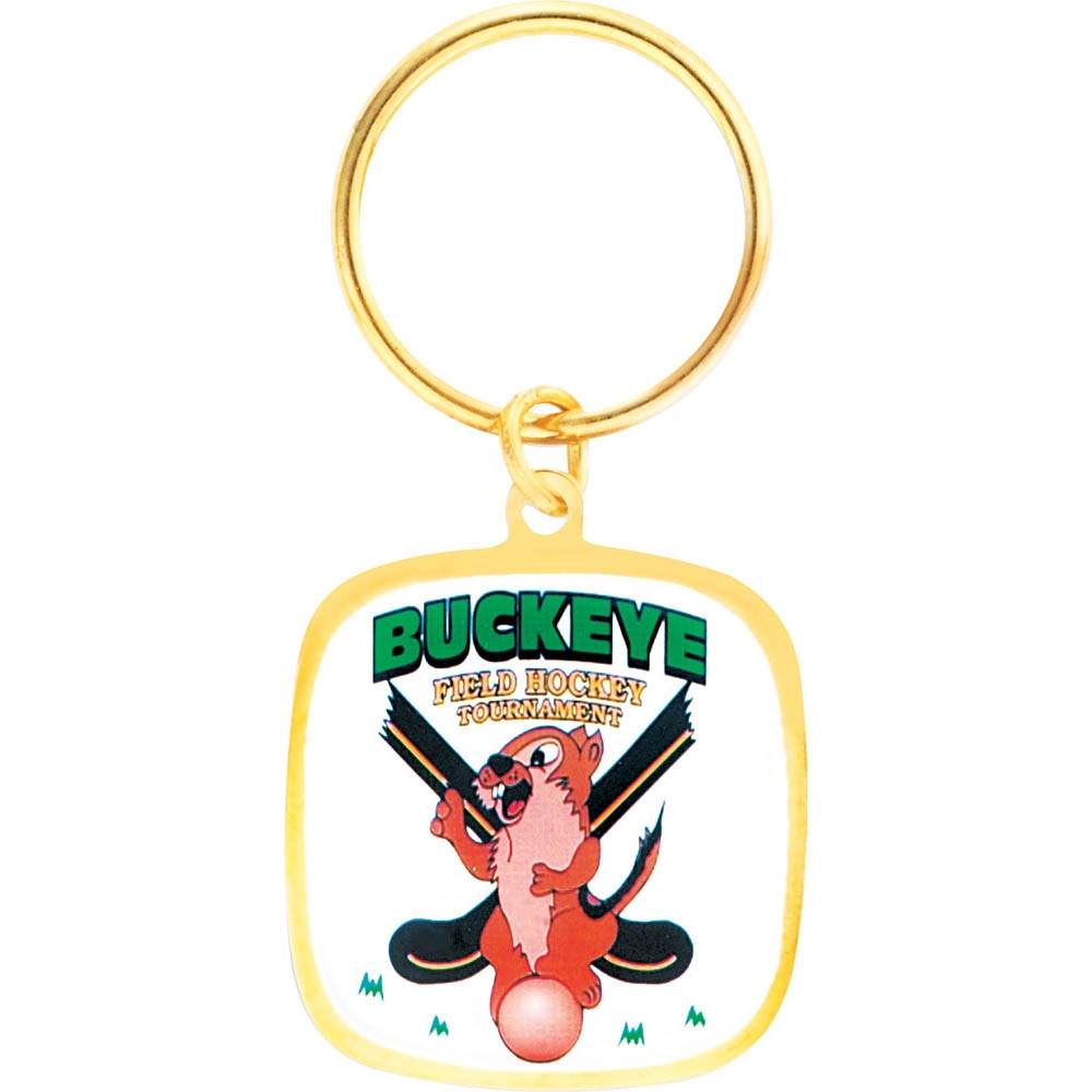 "1 3/8"" Full Color Custom Bright Gold Keytag (SLKT13F6)"