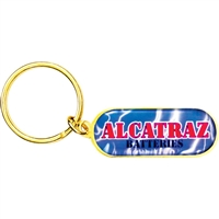 "3/4"" x 1 13/4""  Full Color Custom Bright Gold Keytag (SLKT18F6)"