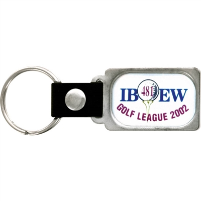 "1/2"" x 3/4""  Full Color Custom Bright Silver Key tag (SLKT22F6)"