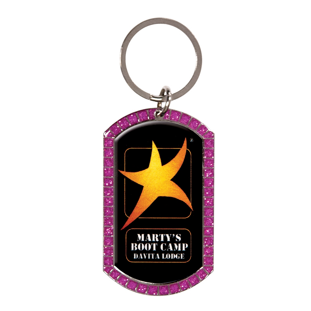 "2""  Full Color Custom Pink Glitter Key tag (SLKT40P)"