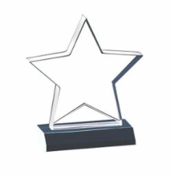 "SMT-B Star Shaped Acrylic Award 6"" x 6-3/4"""