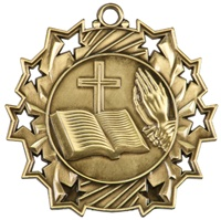 "2-1/4"" Ten Star Religious Medal TS514"