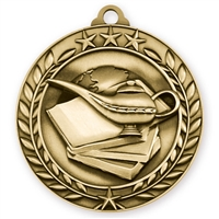 "2 3/4"" Book & Lamp Medal"
