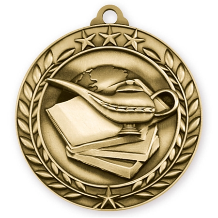 "1 3/4"" Book & Lamp Medal"
