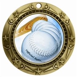"3"" WCM Full Color Softball Medal"