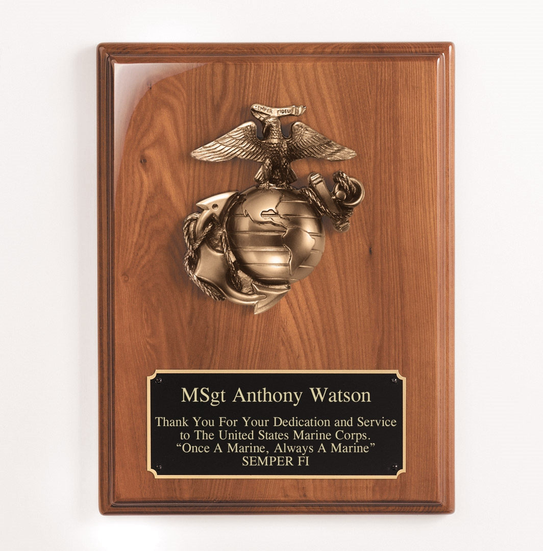 9x12 US Marine Corp Walnut Plaque