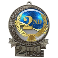 "3"" 2nd Place Medal with Epoxy Dome XMD-D02"