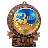 "3"" 3rd Place Medal with Epoxy Dome XMD-D03"