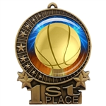 "3"" Basketball Medal with Epoxy Dome XMD-D10"