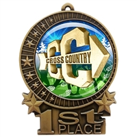 "3"" Cross Country Medal with Epoxy Dome XMD-D18"