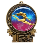 "3"" Female Gymnastics Medal with Epoxy Dome XMD-D22"