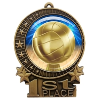 "3"" Volleyball Medal with Epoxy Dome XMD-D45"