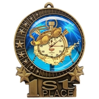 "3"" Swimming Medal with Epoxy Dome XMD-D65"