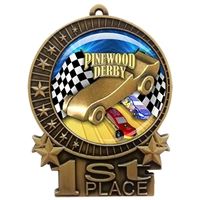 "3"" Pinewood Derby Medal with Epoxy Dome XMD-D70"