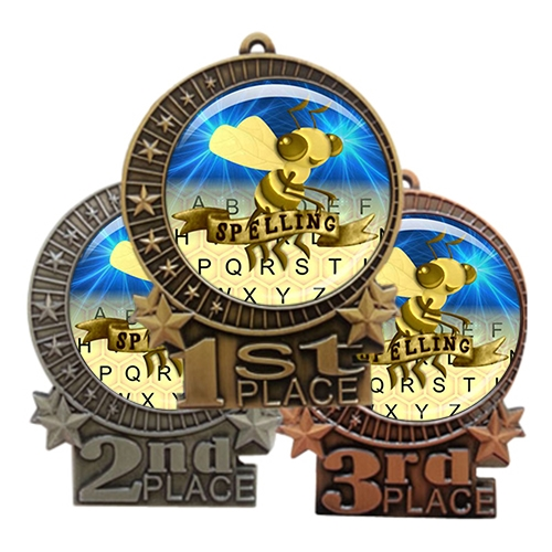 "3"" Spelling Bee Medal with Epoxy Dome XMD-D77"