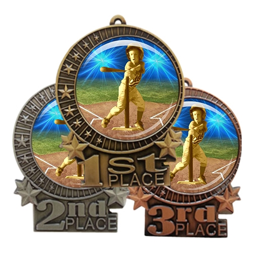 "3"" T-Ball Tee Ball Medal with Epoxy Dome XMD-D82"