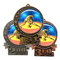 "3"" Wrestling Medal with Epoxy Dome XMD-D90"