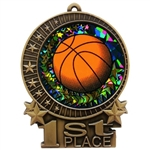 "3"" Holographic Diamond Basketball Medals XMD700-DM410"