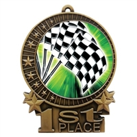 "3"" Full Color Checkered Flags Medals"