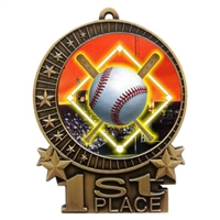 "3"" Full Color Baseball Diamond Medals"