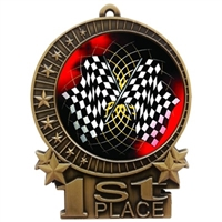 "3"" Full Color Checkered Flag Medals"