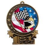 "3"" USA Racing Flags Medals"