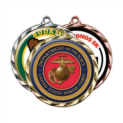 "2-1/4""  Medals w/ 2"" Full Color Custom Insert sl-022a"