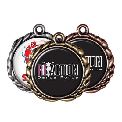 "2-1/2"" Wreath Medals w/ 2"" Full Color Custom Insert sl-032a"