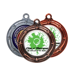 "3"" Star Medals w/ 2"" Full Color CUSTOM Poly Dome Insert sl-033a"