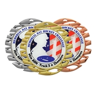 "2-3/4"" Bright Finish Medals w/ 2"" Full-Color Custom Insert"