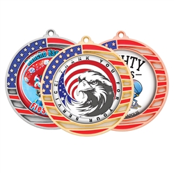 "2-3/4"" Flag Medals w/ (2"" Full Color CUSTOM Poly Dome Insert)"