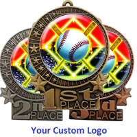 "3"" 1st 2nd 3rd Place Star Medals w/ 2"" Full Color CUSTOM Poly Dome Insert SL-XMD700"
